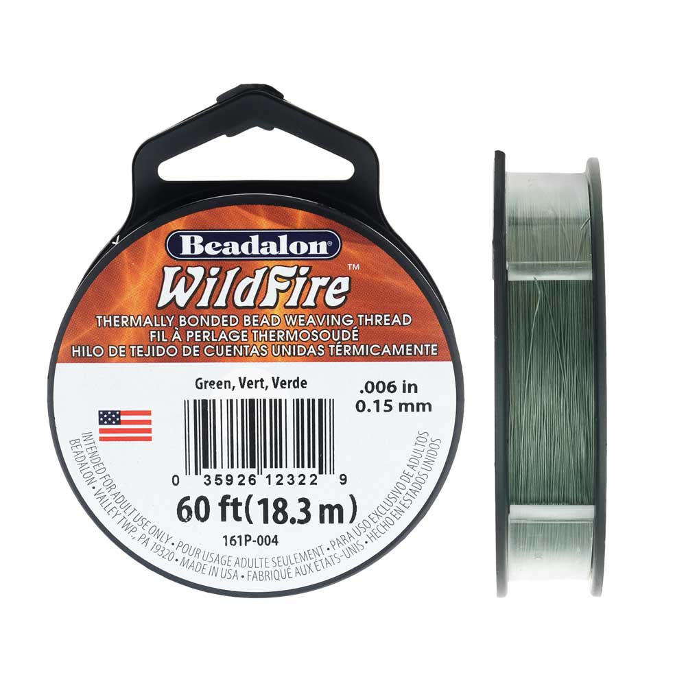 Wildfire Thermal Bonded Beading Thread, .006 Inch Thick, 20 Yard Spool, Green