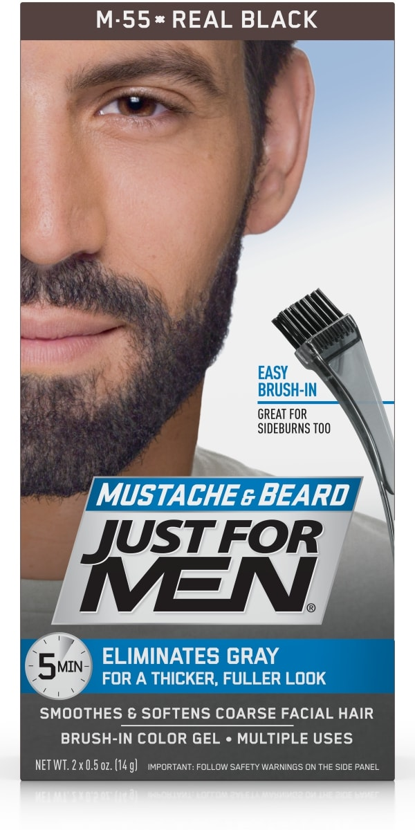 Just For Men Mustache and Beard, Easy Brush-In Facial Hair Color Gel ...
