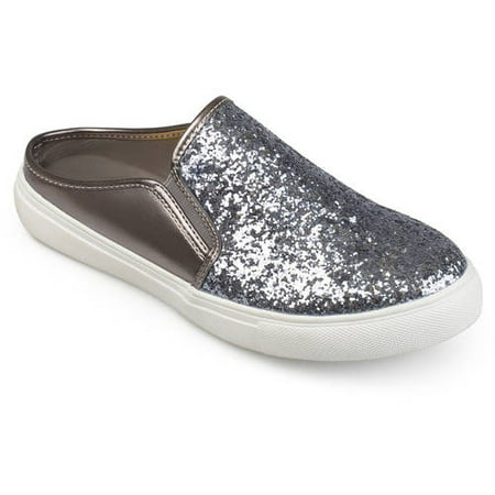 Womens Leather Tie Shoe (Brinley Co. Womens Glitter Faux Leather Slide Sneakers )