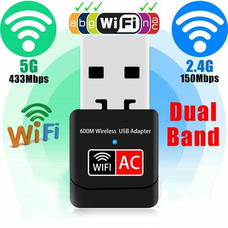 600Mbps Dual-band Wireless USB Ethernet PC WiFi AC Adapter Lan 802.11 Dual Band 2.4G /
