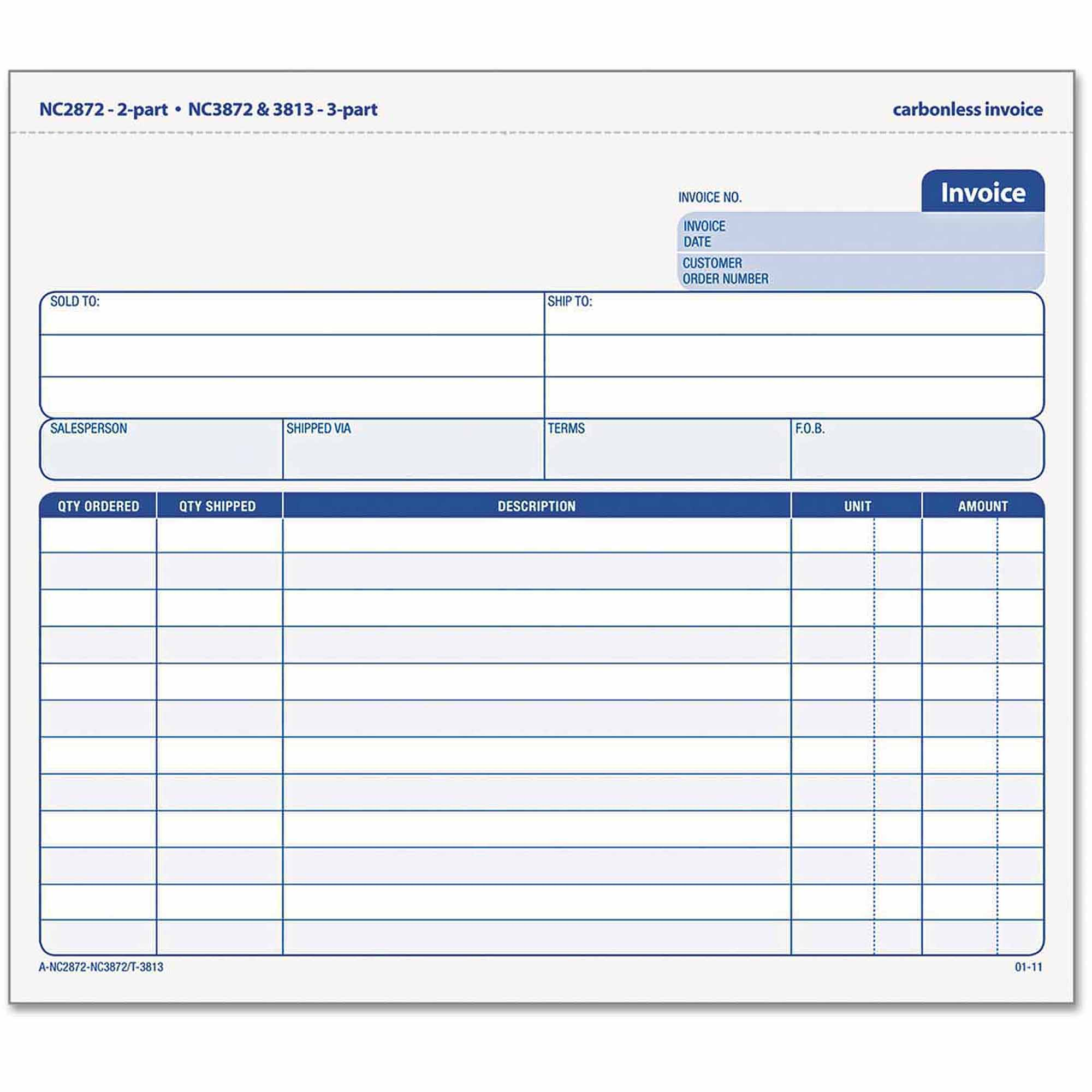 "TOPS Snap-Off Invoice, 8.5"" x 7"", 3-Part Carbonless, 50 Forms"