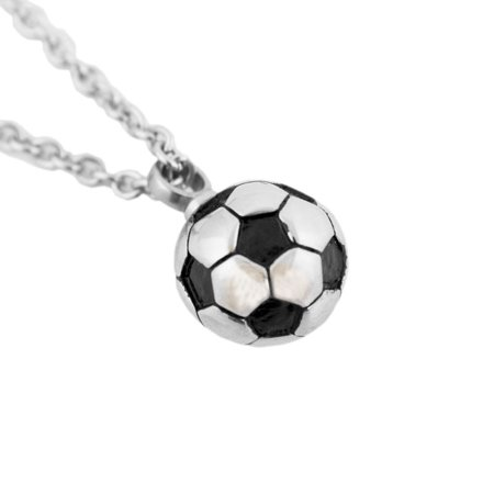 Stainless Steel Sport Memorial Keepsake Necklace - Extra Small 1 Pounds -  Silver Soccer - Ball Necklaces