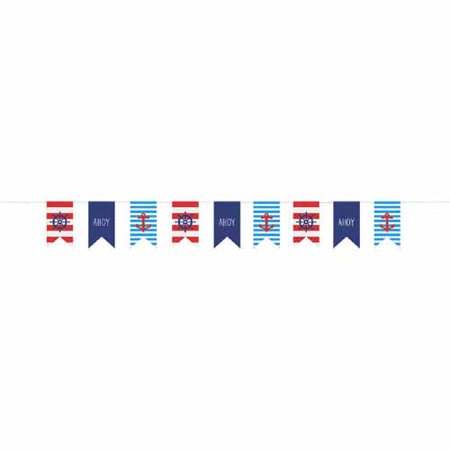 Summer 'Nautical Anchors Aweigh' Canvas Flag Banner (9ft)