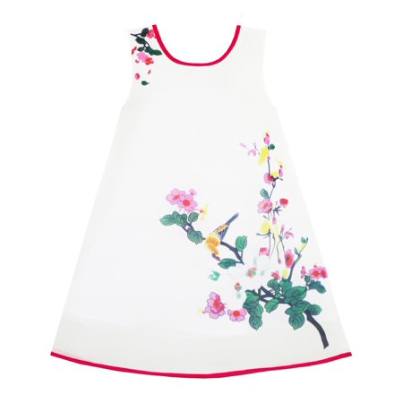Retro Girls (Girls Dress Retro Chinese Drawing Style Bird Floral Tree Beach Sundress)