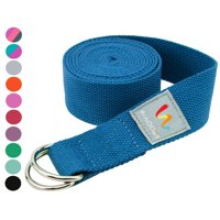 Wacces D-Ring Buckle Cotton Yoga Straps Bands - Best for Stretching - Blue - 8 Feet