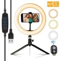 10.2 LED Selfie Ring Light with Tripod Stand & Phone Holder Remote Control & 3 Light Modes & 10 Brightness Level, Dimmable Desk Ringlight for Live Streaming, Youtube Video, Shooting Makeup Ring Light