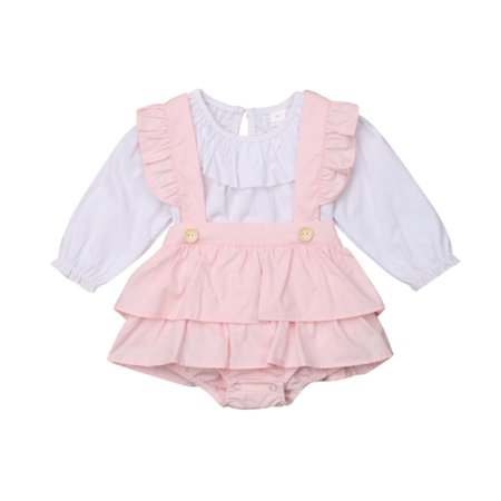 Clothing Garb - Newborn Kids Baby Girl Ruffle Tops T-Shirt Suspender Tutu Dress Pants Outfits Sunsuit