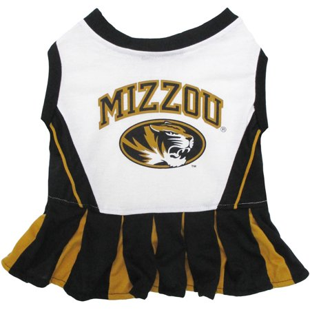 Pets First College Missouri Tigers Cheerleader, 3 Sizes Pet Dress Available. Licensed Dog Outfit