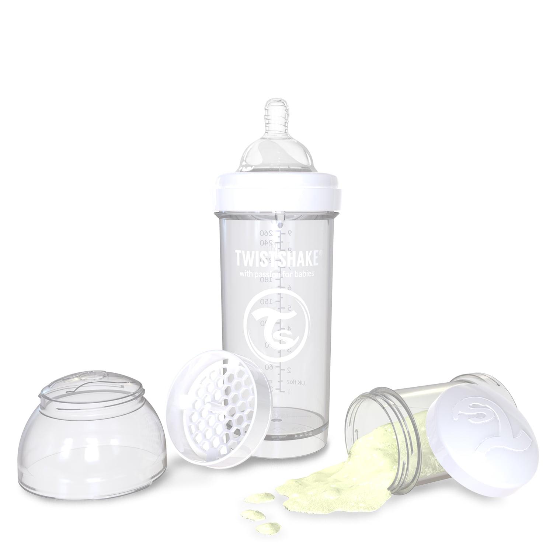 Twistshake Anti-Colic Baby Bottle - 8oz, White/Diamond