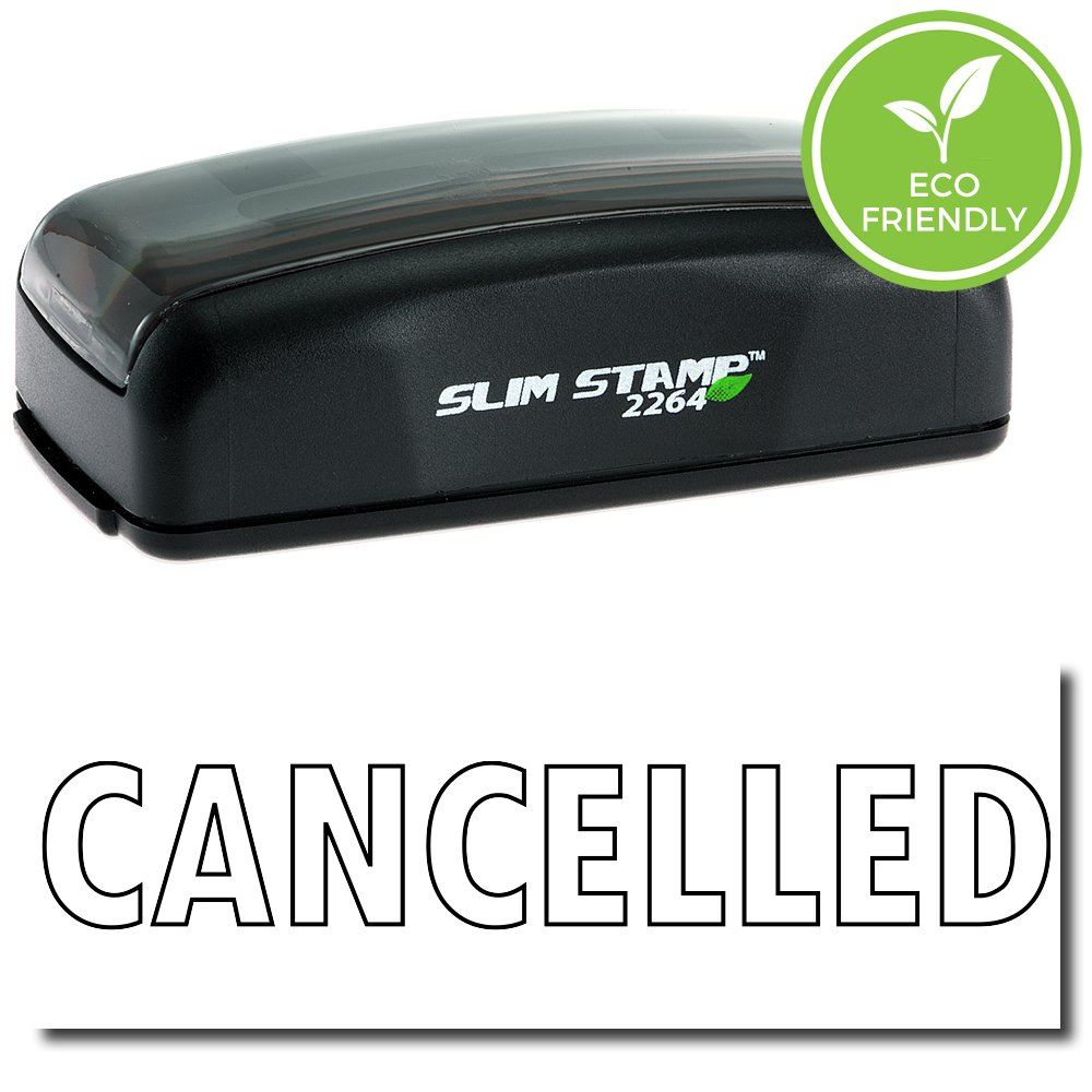 Large Pre-Inked Cancelled Stamp (Outline Text) with Black Ink