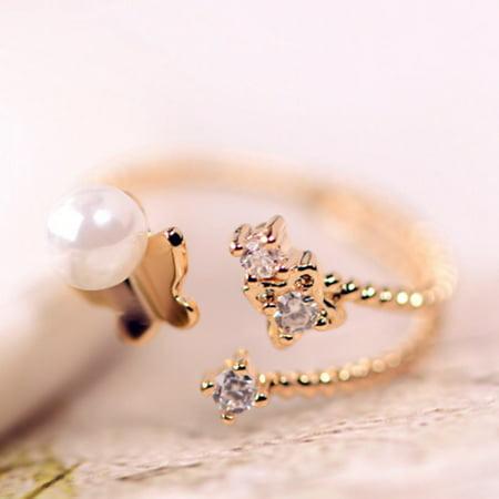 KABOER Fashion Women Girls Flying Butterfly Adjustable Pearl Cute Ring Jewellery