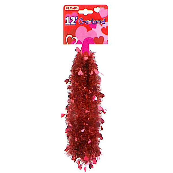 4 Ply Thick Metallic Red Garland with Die Cut Hearts Case Pack 72