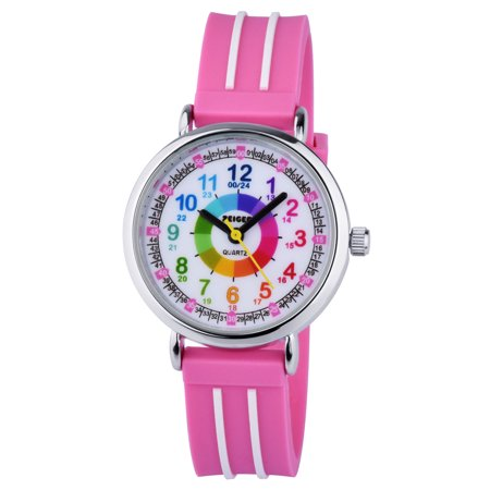 Zeiger Kids Quartz Colorful Numerals Wrist Watch Pink Silicone Band Time Teacher Easy Read Boys Girls Teens Watches