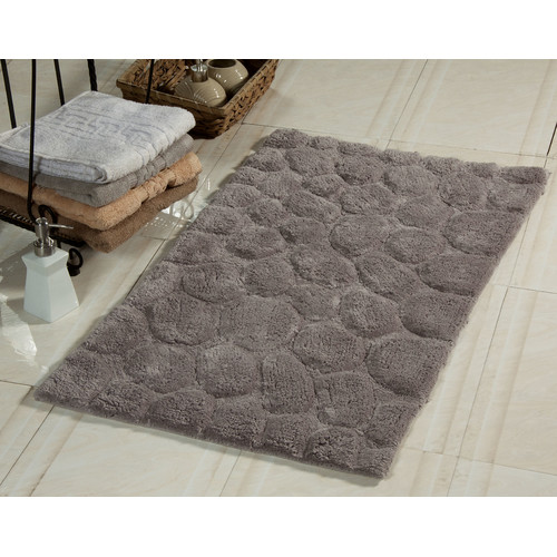 Pebbles Pattern Bath Rug in Gray (34 in. L x 21 in. W)