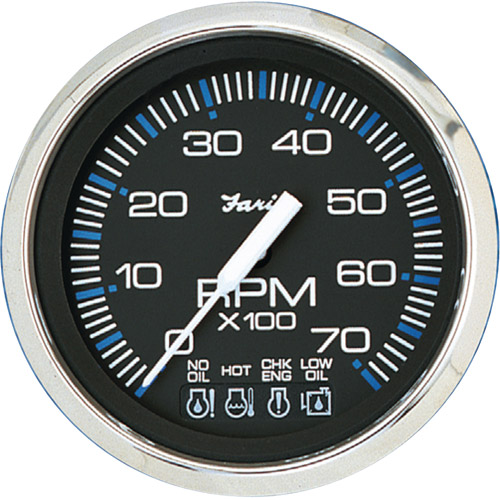 """Faria Chesapeake SS 4"""" Gauge, 7000RPM Tachometer with System Check Indicator, Gas, J/E Outboard"""