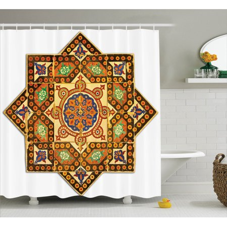 Arabian Decor Shower Curtain Set, Vintage Floral Geometrical Pattern With Turkish Ottoman Calligraphic Art Style Old Boho Print, Bathroom Accessories, 69W X 70L Inches, By Ambesonne - Arabian Accessories