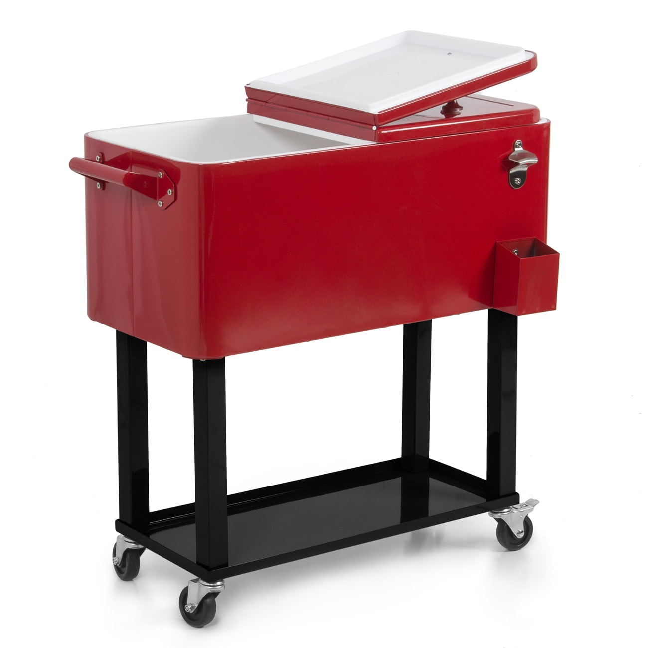 Belleze Rolling Ice Chest Portable Patio Drink Party Cooler Cart, 80-Quart Outdoor with Wheel, Red