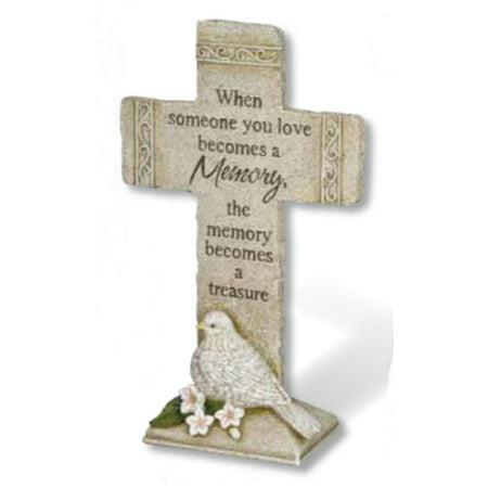 """11.75"""" Religious Memories Become a Treasure Outdoor Garden Cemetery Cross Stone"""