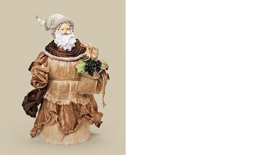 17.5 Old World Santa In Gray Hat And Brown Scarf With Bag