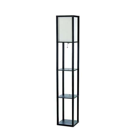 simple designs floor lamp etagere organizer storage shelf with linen shade. Black Bedroom Furniture Sets. Home Design Ideas