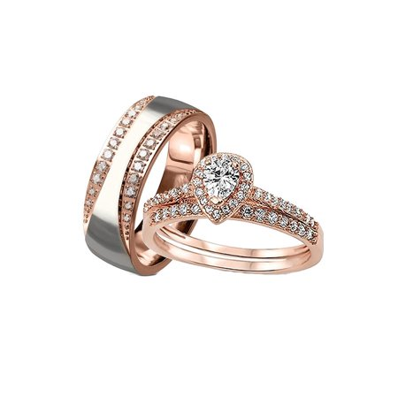 His her Wedding Ring Set 3 Piece Rose Gold Halo Cz Wedding Ring Set ()