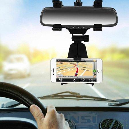 Car Phone Mount, EEEKit Rear View Mirror Holder Car Phone Mount Clip Bracket for iPhone 11/11 Pro Xs Max Xr X 8 7 Plus, Samsung Galaxy S10 S10 Plus S9 S8 S7 S7 Edge &