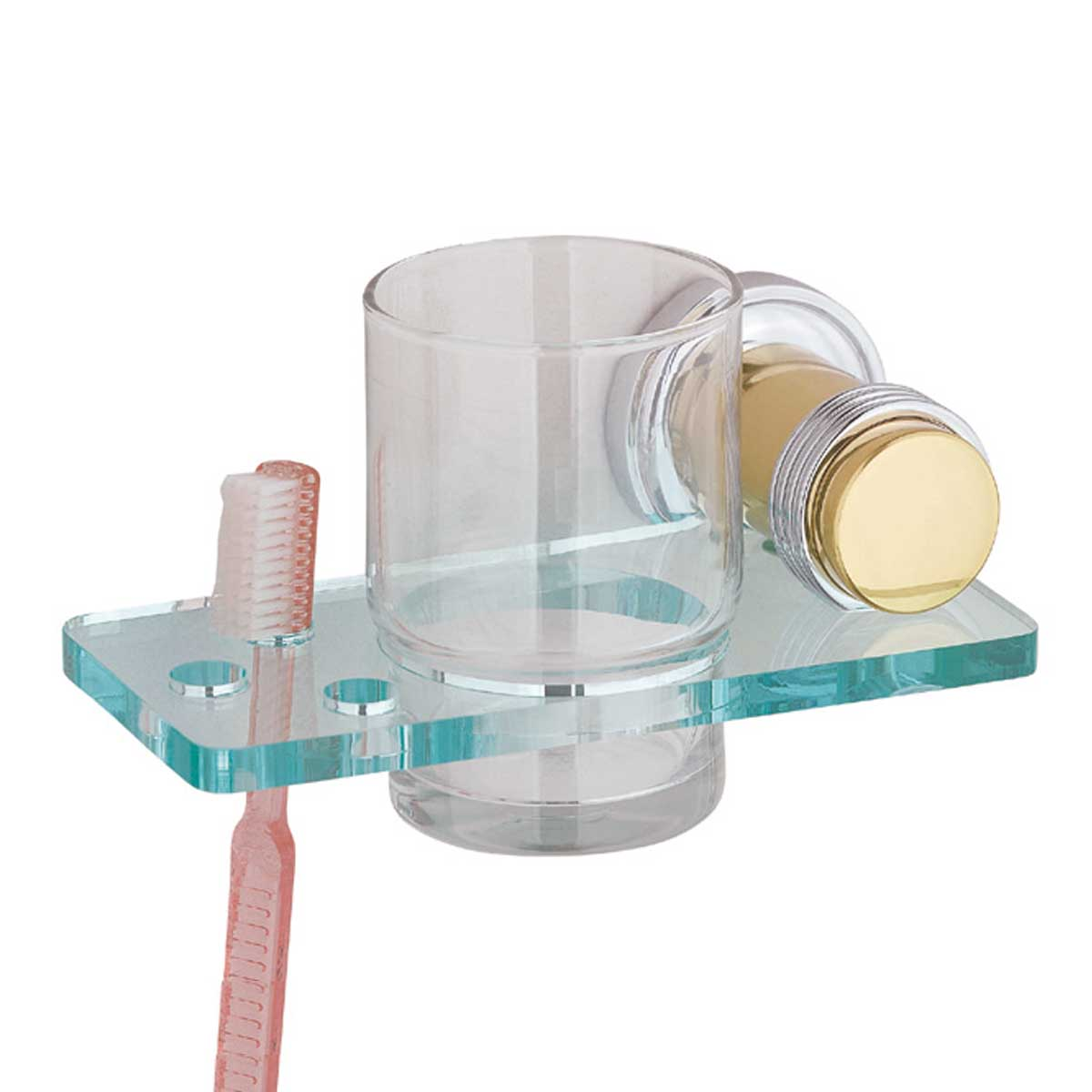 Glass Toothbrush Holder Victorian Spectrum Brass Bracket | Renovator's Supply