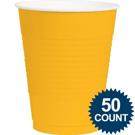 BRIGHT YELLOW PLASTIC 16OZ. CUP (50