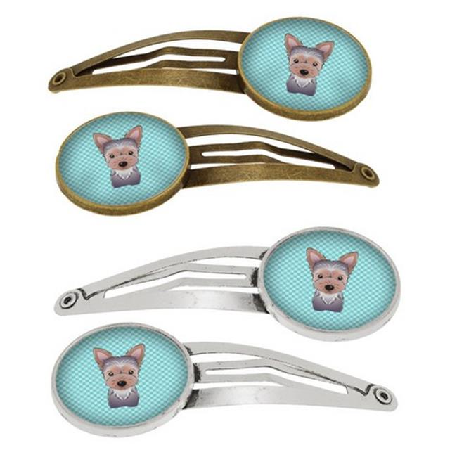 Checkerboard Blue Yorkie Puppy Barrettes Hair Clips, Set of 4