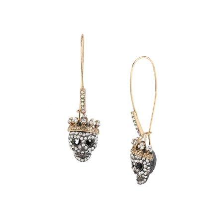 Pave Skull Drop Earrings - Betsey Johnson Flash