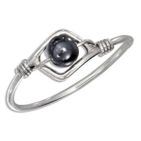 STERLING SILVER HEMATITE BEAD WIRE RING