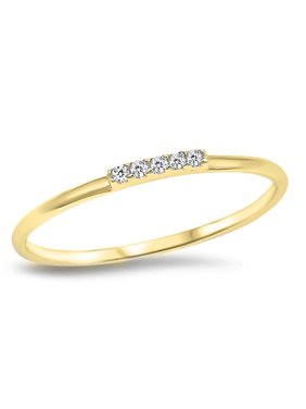 Clear CZ Yellow Gold-Tone Stacking Thin Ring 925 Sterling Silver Band Size 3