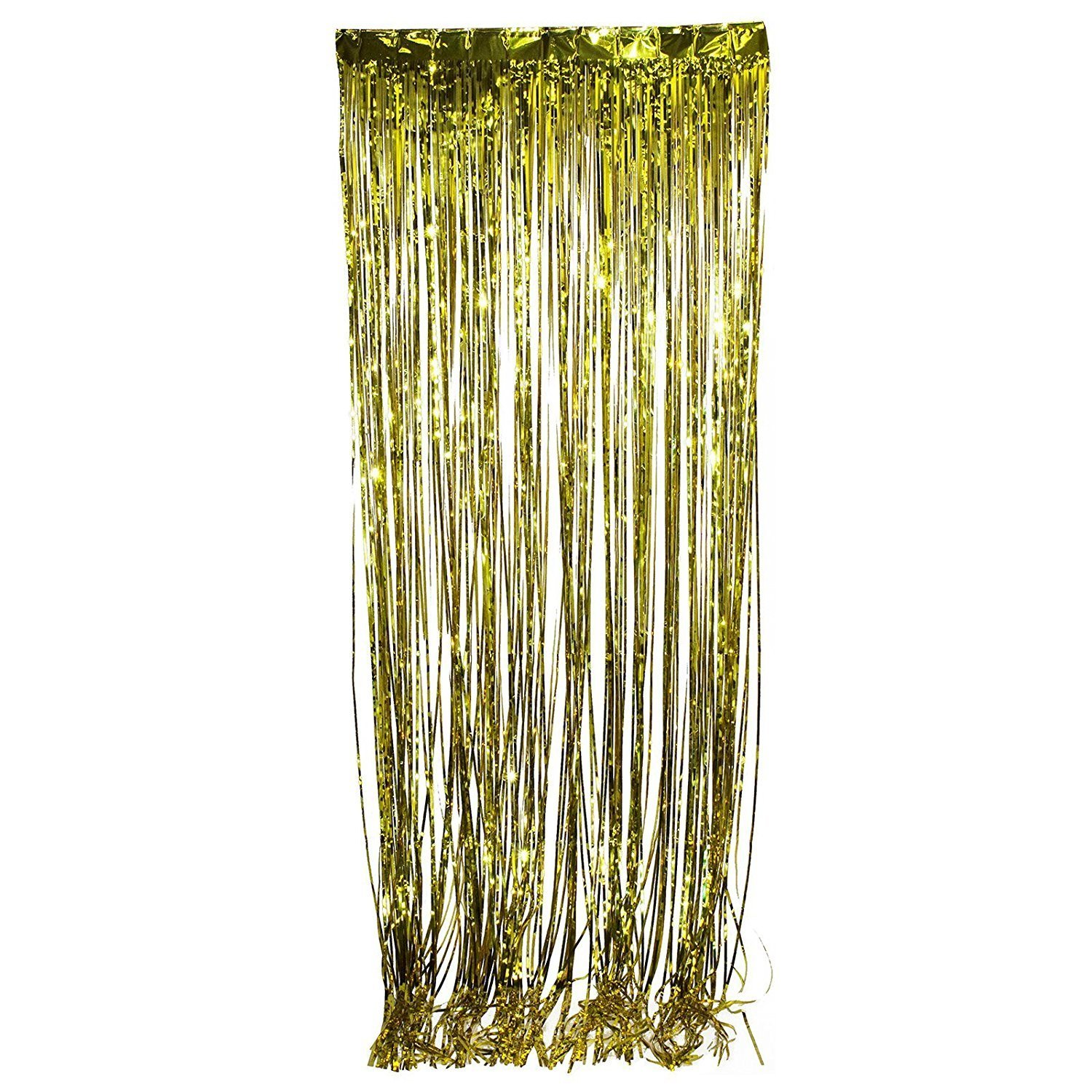 3/' X 8/' Party Metallic Fringe Foil Shimmer Curtain Birthday Decoration Silver FT