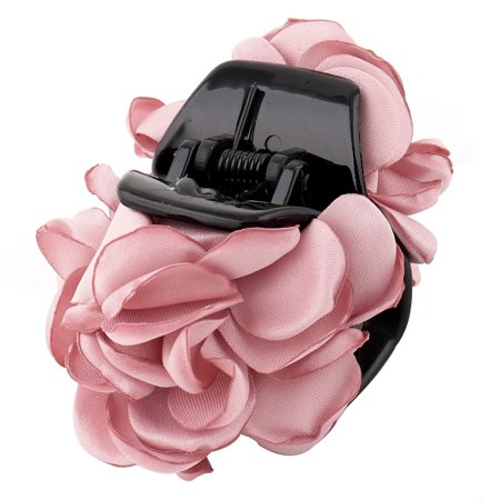 Women Plastic Hairstyle Accessory Camellia Flower Decor Hair Claw Pink