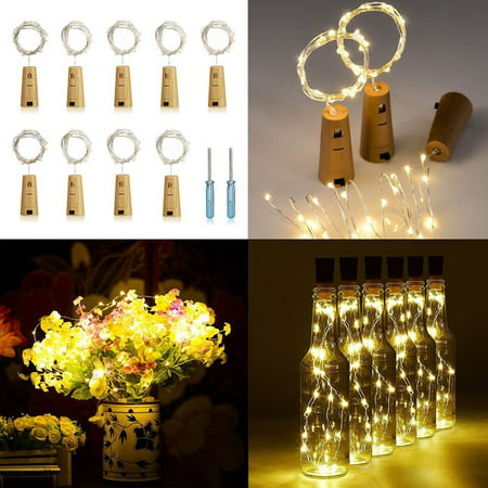 9-pack Wine Bottle Cork-Shaped Light, 77inch/6.6Feet 20-LED White Warm lights for Bottle DIY, Wedding, Christmas, Halloween, Party Decoration or Mood Lights
