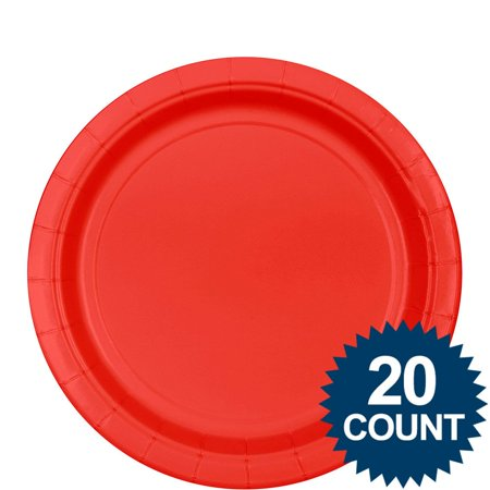 Red 9  34  Paper Plates  20Ct   Party Supplies