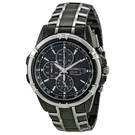Seiko Men's Solar Alarm Chronograph Stainless Watch - Two-tone Bracelet - Black Dial - SSC143 Seiko Mens Alarm Chronograph