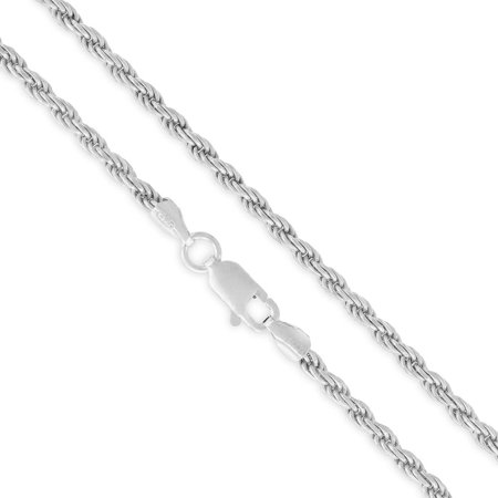 "Sterling Silver Italian 2.5mm Rope Diamond-Cut Link ITProLux Solid 925 Twisted Chain Necklace 16"" - 30"""