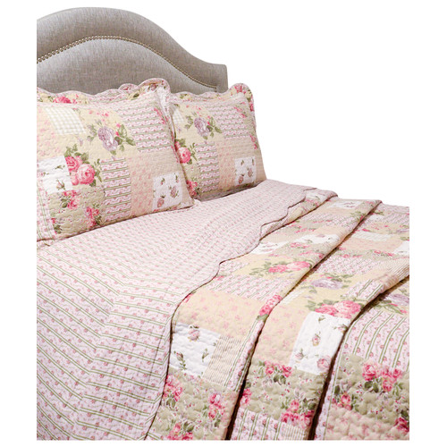 Pegasus Home Fashions Vintage 3 Piece Reversible Quilt Set in Rosemary