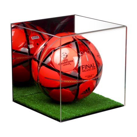Deluxe Acrylic Full Size Soccer Ball Display Case with Mirror and Turf Floor (A007-MTB) - One Ball Display Case