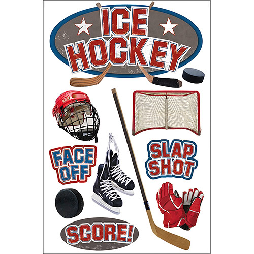 Paper House 3D Stickers, Ice Hockey