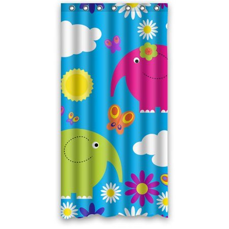 XDDJA Elephant And Flower Shower Curtain Waterproof Polyester Fabric Shower Curtain Size 36x72 inches - image 1 de 1