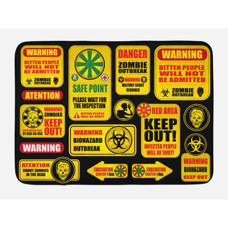 Zombie Bath Mat, Apocalypse Signs Attention Danger Safe Point Evil Phrase Modern Image Print, Non-Slip Plush Mat Bathroom Kitchen Laundry Room Decor, 29.5 X 17.5 Inches, Yellow Grey Red, (Dangers Of 2nd Floor Laundry Room Vibration)