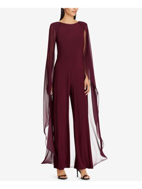 RALPH LAUREN Womens Burgundy Cape Overlay Jewel Neck Flare Evening Jumpsuit  Size: 10