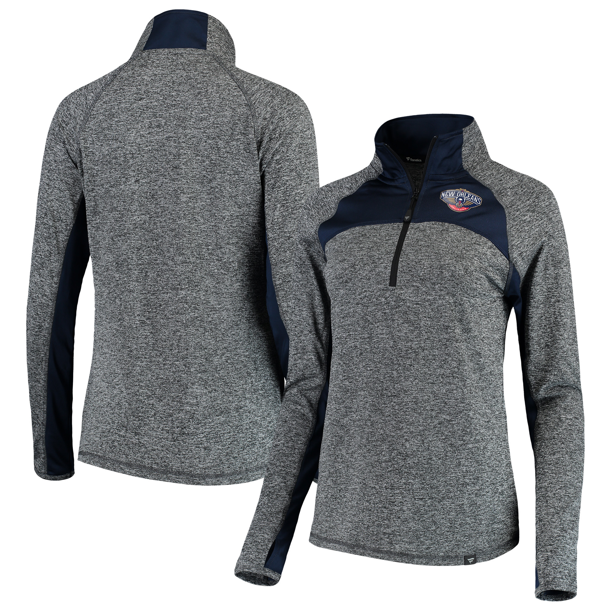 New Orleans Pelicans Fanatics Branded Women's Static Quarter-Zip Pullover Jacket - Heathered Gray