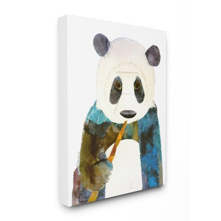 The Stupell Home Decor Collection Watercolor Cutout Collage Panda Oversized Stretched Canvas Wall Art, 24 x 1.5 x 30 (Collage Wall Art Set)