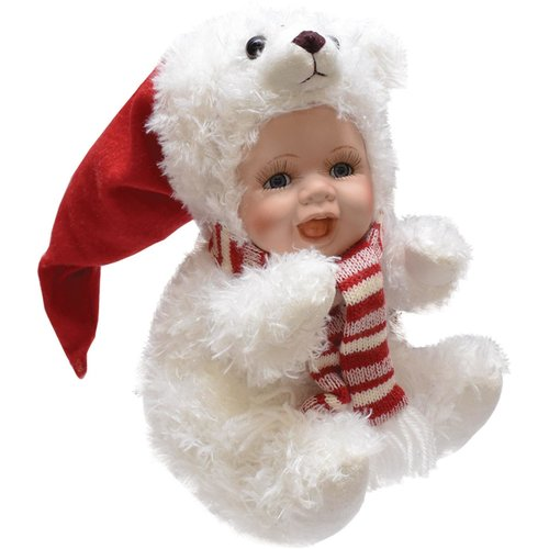 The Holiday Aisle Porcelain Baby in Polar Bear Costume with Santa Hat Collectible Christmas Porcelain Doll