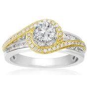 1 Carat Two Tone Halo Diamond Engagement Ring In 14 Karat Gold Size 5.5