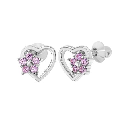 925 Sterling Silver Pink CZ Heart Flower Screw Back Earrings Children Girls