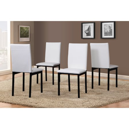 Roundhill Noyes Faux Leather Seat Metal Frame White Dining Chairs Set Of 4